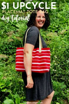 If you're after a frugal and super easy DIY sewing project, this placemat tote bag tutorial is the perfect one for you! Learn how to make this $1 upcycle placemat tote bag in under 10 minutes with this step-by-step tutorial. $1 Upcycle Placemat Tote Bag DIY Tutorial  #DIYPlacematToteBag #DollarStorePlacematToteBag Diy Sewing Projects, Sewing Projects For Beginners, Sewing Tutorials, Sewing Crafts, Sewing Patterns, Diy Tote Bag, Tote Pattern, Simple Bags, Placemat
