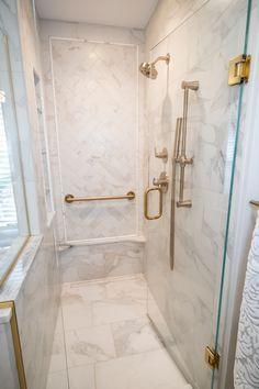 Modern Small Bathrooms, Luxury Bathrooms, Shower Remodel, Bath Remodel, Master Shower, Master Bathroom, Bathtub Tile Surround, Medina Ohio, White Porcelain Tile