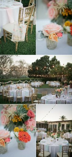 Peach and Mint wedding - flowers - tables - gold chairs  Troy Grover Photographe