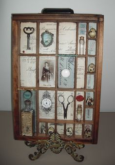 How to creatively display a collection of small items in a vintage style printers tray
