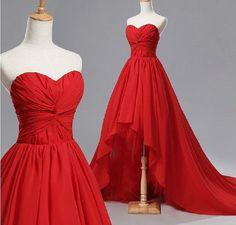 Pd348 Charming Prom Dress,Fashion Prom Dress,High/Low Prom Dress,Chiffon Prom Dress with Pleat