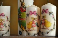 Candle Lanterns, Pillar Candles, Decoupage, Decorated Candles, Easter Candle, Dragon, Advent Season, Simple Diy, Easter Activities