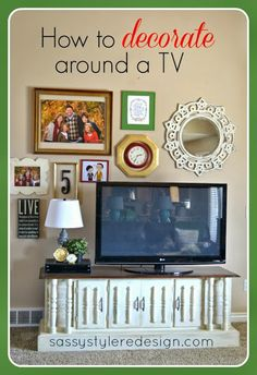 to decorate around a TV. Use my end tables paint ten white and push together to make a console.How to decorate around a TV. Use my end tables paint ten white and push together to make a console. Home Living Room, Apartment Living, Living Room Decor, Living Room Inspiration, Home Decor Inspiration, Decor Ideas, Decorating Ideas, Wall Ideas, Room Ideas