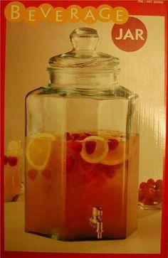 Glass Beverage Jar Large 11L Drinks Dispensor Fruit Punch/Cocktail Jug   eBay