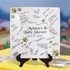 12 inch square bumble bee baby shower signature plates for a memorable