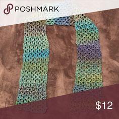 "Blue/Green/Purple Crochet Scarf Beautiful 54"" long cricket scarf! Accessories Scarves & Wraps"