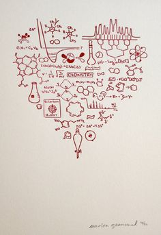 Got Chemistry print  Letterpress heart RED  Science by molarchae, I think I am…