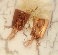 Copper Earrings  Tangled and Twisted Rustic Copper by cherbear71, $28.00