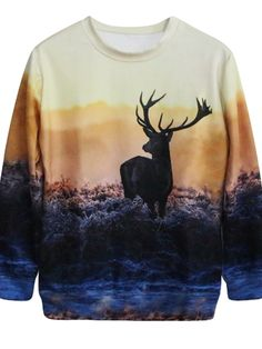 Deer Printed Both Sides Woman Thin Hoodies