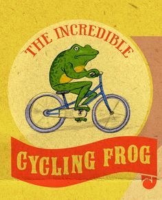 Jonathan Burton's incredible cycling frog, from his illustrated cover for Fortean Times magazine.