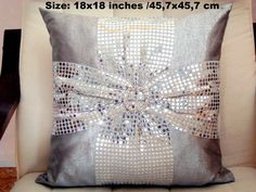 Bow 18x18 pillow cover – Silver sequin pillow – Glitter cushion by SABDECO on Etsy https://www.etsy.com/listing/216693391/bow-18x18-pillow-cover-silver-sequin