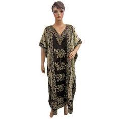 Resort Wear Womens Elephant Print Satin Crepe Caftan Kaftan Black Evening Dress (Apparel)  http://www.amazon.com/dp/B007SRO88I/?tag=classy111-20  B007SRO88I