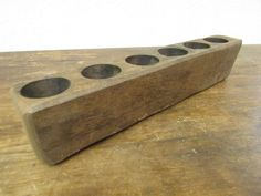 Small 6 Hole Sugar Mold Candleholder #2 -Old Mexican-Rustic-Wood-Sugarmolds-Primitive-Wooden-Natural-19L by RanchoAdobe on Etsy