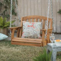 Settle into the Coral Coast Amherst Single Seat Wood Porch Swing - Natural and relax as you enjoy the great outdoors. This traditionally-styled and. Pergola Swing, Pergola Plans, Pergola Kits, Pergola Ideas, Pergola Patio, Porch Ideas, Outdoor Swing Chair, Chair Swing, White Pergola