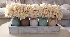 Wedding Centerpiece Mason Jar whitewashed planter