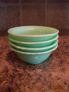 Set of 4 Vintage McKee Laurel Jadite/Jadeite Berry Dessert Bowls-FREE USA Shipping