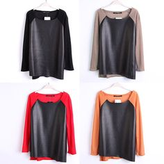 2014 new fashion brand euope autumn spring patchwork cotton leather PU long sleeved tees t shirts tops women plus size