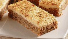 Hrnčeková maškrta: Ananásovo-orechový koláč |  Na cesto:  1 konzerva ananásu (450 g) 1 hrnček hladkej múky 2 lyžičky sódy bikarbóny 1 hrnček práškového cukru 1 hrnček mletých orechov 2 vajcia mleté orechy na posypanie Na plnku:  1 tvaroh tretinu masla pol hrnčeka práškového cukru 1 balíček vanilínového cukru citrónová kôra z pol umytého citróna
