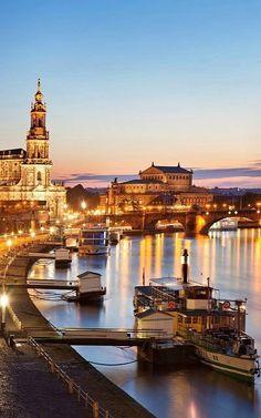 Elbe River at dusk.. Dresden, Germany