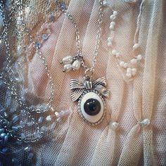 Evil Eye Sweet bow Victorian necklace with fresh by gigideluxe, $60.00