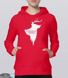 This funny Game of Thrones hoodie makes the perfect geek Christmas clothing | Adult Unisex Hoodies available from Boots Tees. (Pictured: Red)