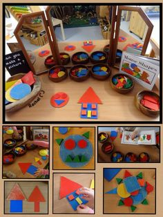 "A few activities set up to assess the children's knowledge of shapes (in an Early Years classroom) - from Rachel ("",) Maths Eyfs, Numeracy Activities, Eyfs Classroom, Nursery Activities, Kindergarten Activities, Preschool Activities, Shape Activities, Early Years Maths, Early Years Classroom"