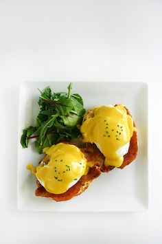 all local eggs benedict from scratch, buttermilk english muffins & bacon