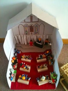 Make a church for Playmobil people. That's a good idea for teaching kids about church. #christianedmajorprobs