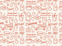 The Creamery by Tina Martin - Dribbble Burger Branding, Restaurant Branding, Flat Design Icons, Icon Design, Chicken Clip Art, Office Mural, Food Graphic Design, Food Sketch, Craft Packaging