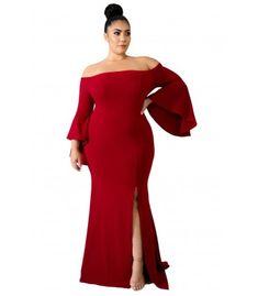 Chic Red Off Shoulder Slit Plus Size Mermaid Dress,Plus Party Dress,Plus Maxi Dress,Wholesale Plus Size Clothing Plus Size Prom, Plus Size Wedding, Plus Size Maxi Dresses, Plus Size Outfits, Mermaid Dresses, Prom Dresses, Mermaid Gown, Peplum Dresses, Long Dresses