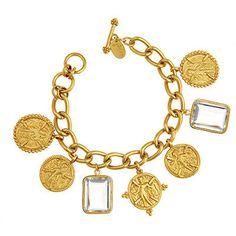 Coin Stone Charm Bracelet. 24K Goldplate. Semi-precious Stones.   $265