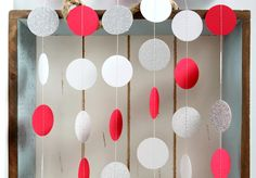 Silver Glitter White Red 10 ft Circle Paper by FancifulChaos, $10.00