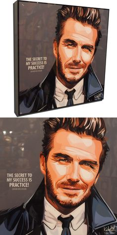 """David Beckham Poster Plaque with Quote """"The secret to my success is practice! World Cup Draw, Famous Pop Art, Pop Art Posters, Charming Man, David Beckham, Gray Background, Football Players, Manchester United, The Beatles"""