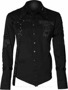 Gothic button down shirt for men by Queen of Darkness clothing, with strap detail and dark grey print.