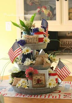 This could be used for July 4 and Memorial Day. Tiered Server, Tier Tray, Tiered Serving Tray, Three Tiered Stand, Galvanized 3 Tier Stand, Galvanized Tray Centerpieces, Galvanized Metal, Galvanized Decor, Galvanized Buckets
