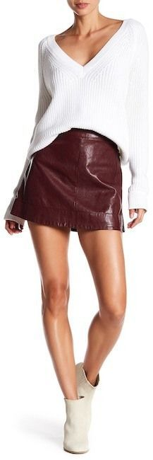 Jolt Topstitched Moto Faux Leather Mini Skirt (Juniors)