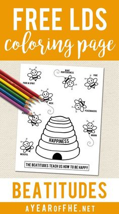 Free BEATITUDES coloring page to use for Primary, Sacrament Meetings or Family Home Evening.