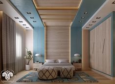 40 Beautiful Bedrooms That We Are In Awe Of Are you planning to update your bedroom decor, or maybe even start a renovation from the ground up? This post is all about inspiration! False Ceiling Living Room, Bedroom False Ceiling Design, Bedroom Bed Design, Bedroom Furniture Design, Modern Bedroom Design, Home Decor Bedroom, Wooden Furniture, Furniture Ideas, Wooden Ceiling Design