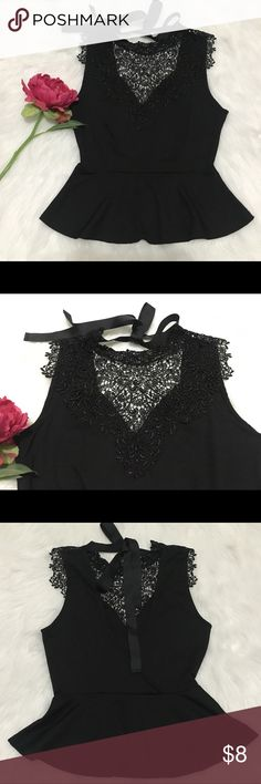 Black Lace Peplum top in size Small Stunning black lace peplum top. Sleeveless with beautiful front lace detail and bow at the back. I love this top but I've never worn it because it was too small for me. It's still in great condition!  Please bundle to get a better deal✅  If you find an item identical to what I'm selling with a lower price, please let me know and I will price match✅  Mahalo for stopping by my closet😊🌺 Iris Los Angeles Tops Blouses