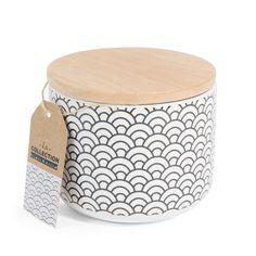 Pot motif japonais en porcelaine H 10 cm BLACK & WHITE