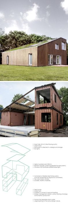 large, spacious, and undercover outdoor areas, another shipping container home this provides less natural light but would make a cheap, easily constructed farm house. With plenty of storage for equipment and ample living spaces. The colours for this house blend with the grass surrounding it and the trees around it. #ShippingContainerHomes