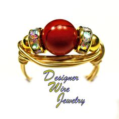 DWJ0346 Gorgeous Red Jasper Gemstone Solitaire Gold Wire Wrap Ring All Sizes