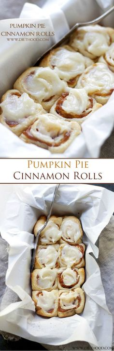 Pink Lemonade Smoothie Mix Cinnamon Rolls Filled With A Delicious Pumpkin Pie Filling And Topped With An Incredible Pumpkin Pie Spice Cream Cheese Frosting Ready In Köstliche Desserts, Delicious Desserts, Dessert Recipes, Yummy Food, Tasty, Pumpkin Recipes, Fall Recipes, Holiday Recipes, Dessert Aux Fruits