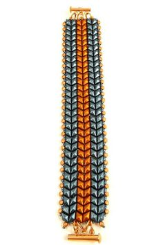 With this off loom herringbone tutorial you can create beautiful textured DiamonDuo (or GemDuo) beaded bracelets, each lightly embellished with Firepolish beads and seed beads. The 8-page, full color beadweaving pattern has tons of diagrams and photographs to guide you through your