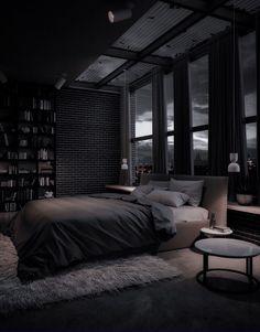 Black Bedroom Design, Black Interior Design, Home Room Design, Dream Home Design, Modern House Design, Dream House Interior, Luxury Homes Dream Houses, Dark Interiors, Dream Apartment