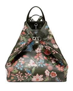 Gucci | Men's Floral-Print Perforated Leather Backpack, Green Multi #gucci #backback