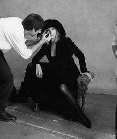 Kevyn Aucoin touches up his fave diva... A priceless moment captured. We'll done, Steven Meisel...
