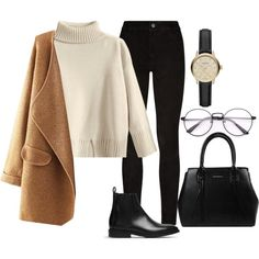 A fashion look from January 2018 featuring shirt top, long sleeve coat and paige denim jeans. Browse and shop related looks. Cute Casual Outfits, Stylish Outfits, Fashion Outfits, Fashion Clothes, Fashion Tips, Fall Winter Outfits, Autumn Winter Fashion, Casual Winter, Spring Outfits