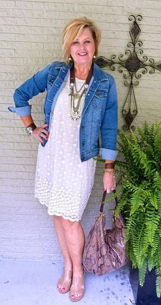 50 Is Not Old | Favorite Summer Outfit | Denim + Dress | Leather & Lace | Fashion over 40 for the everyday woman