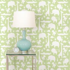 """Its A Jungle In Here Peel And Stick 18' x 20.5"""" Wildlife Foiled Wallpaper"""